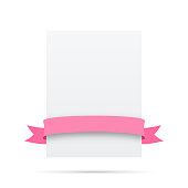Pink ribbon on blank white label - Design Elements