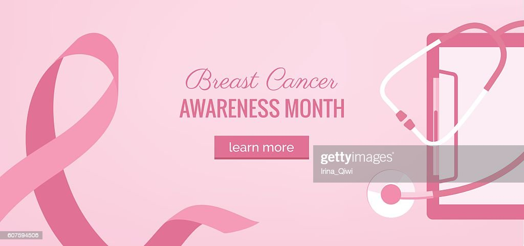 Pink Ribbon womens breast cancer awareness banner with stethosco
