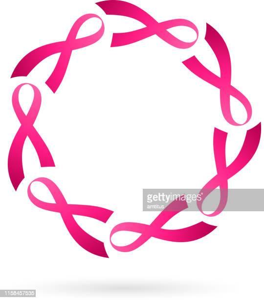 rosa band kranz - sensibilisierung für brustkrebs stock-grafiken, -clipart, -cartoons und -symbole