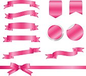 Pink Ribbons and labels Set isolated On White Background. Vector Illustration for your design