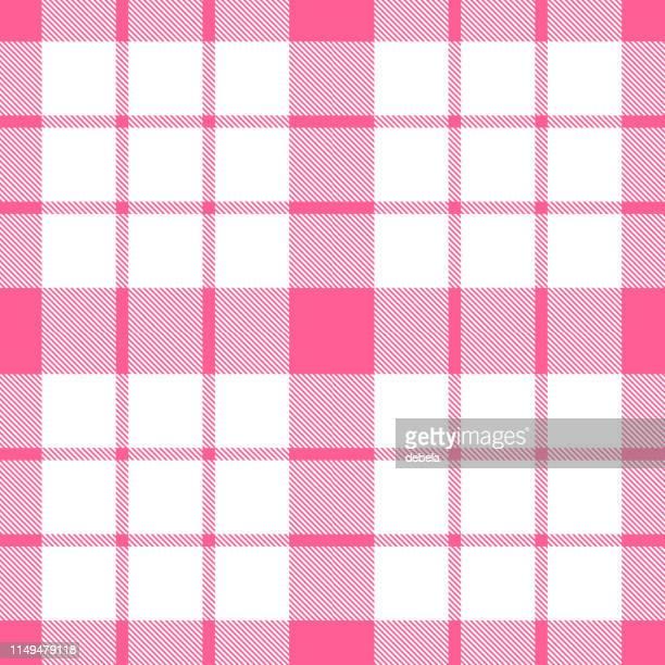 pink scottish tartan plaid textile pattern - scottish tweed stock illustrations, clip art, cartoons, & icons