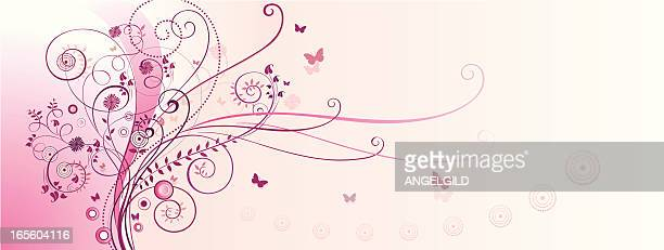 pink scrolled background - scrollen stock illustrations
