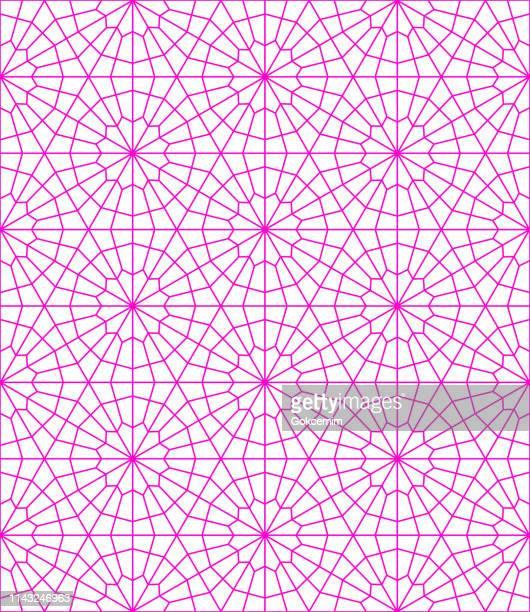 stockillustraties, clipart, cartoons en iconen met roze naadloze minimalistische moderne geometrische patroon op witte achtergrond. schone moderne behang met heldere kleur. lissabon arabisch geometrische tegel, mediterrane ornament. - turkije midden oosten