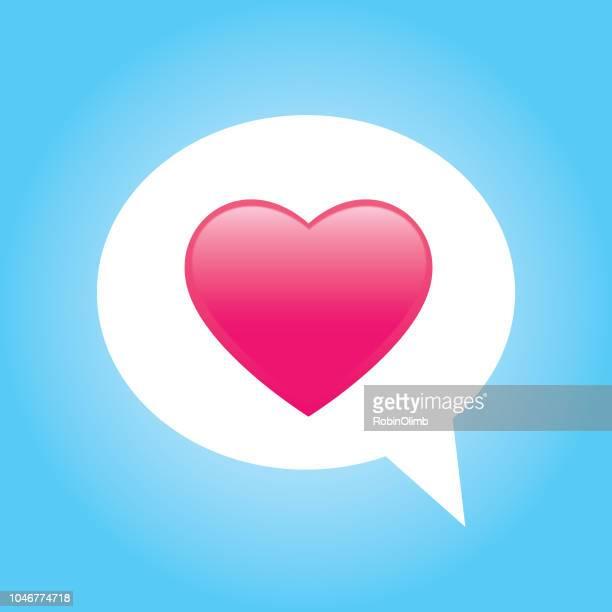 pink shiny heart speech bubble - text messaging stock illustrations