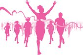 Pink silhouettes of women running, crossing the finish line
