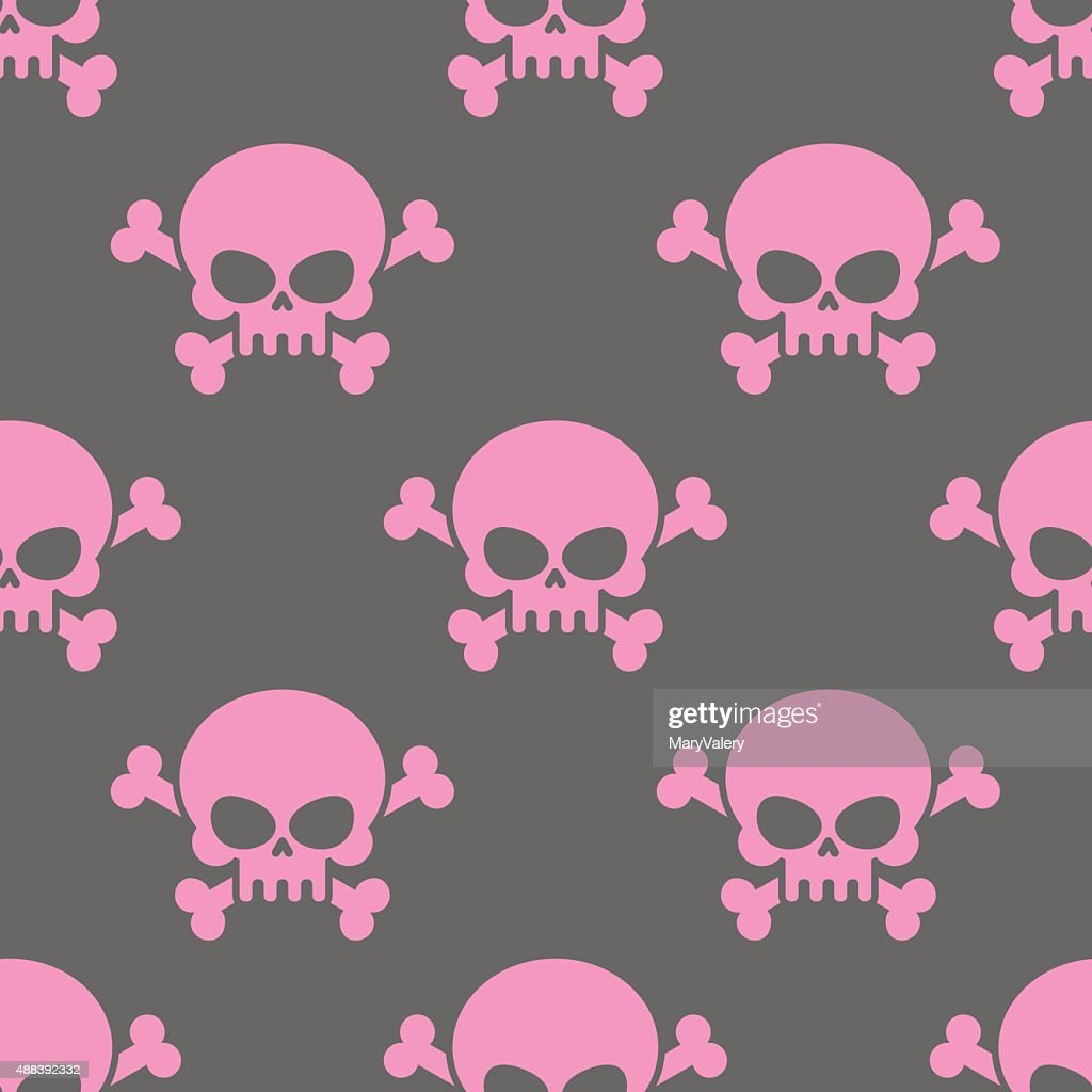 Pink skull on a grey background seamless pattern.