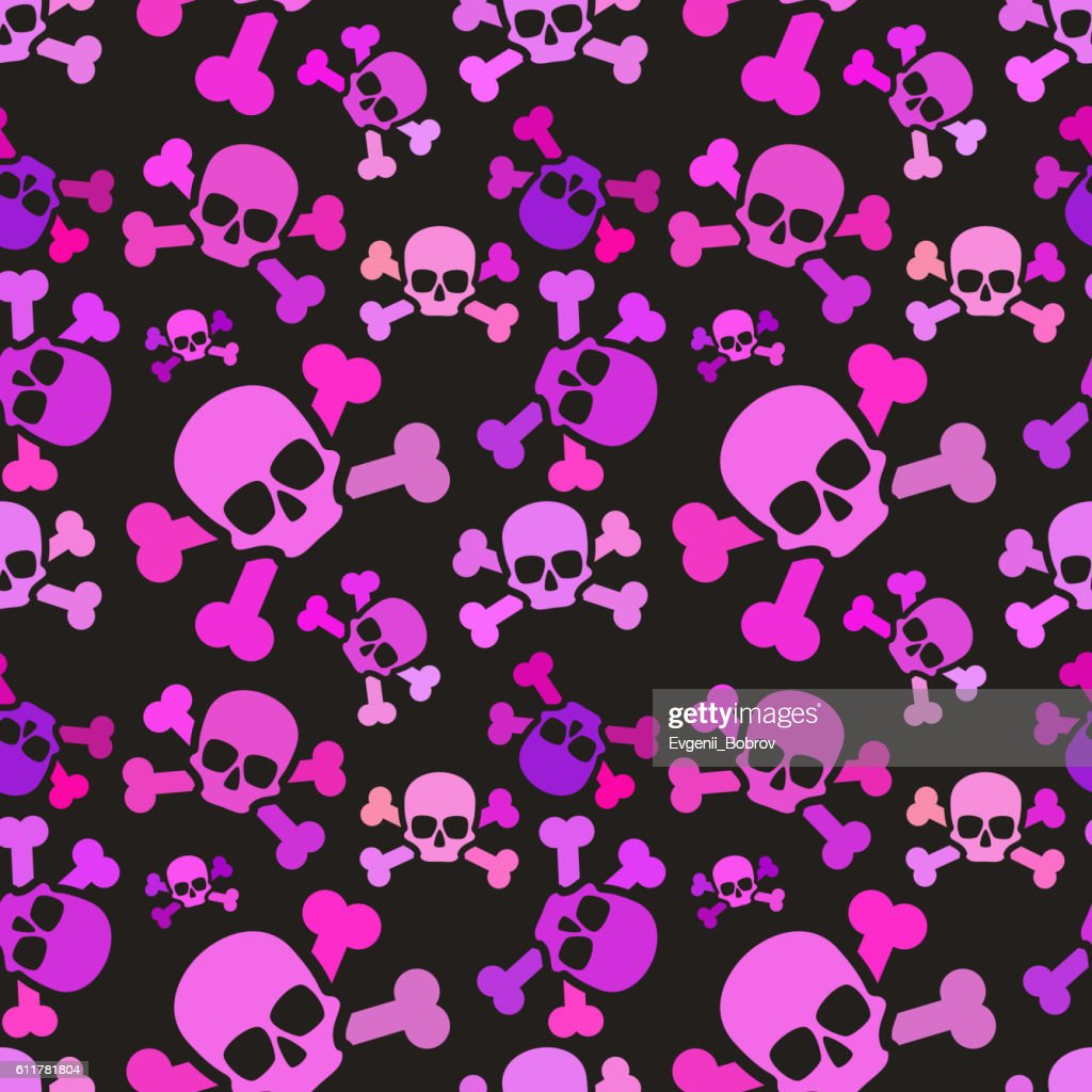 Pink skulls on dark background, emo subculture seamless pattern