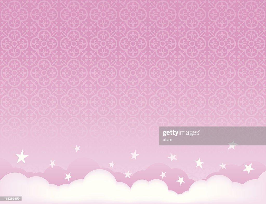 ピンクの空を背景に星のイラスト ベクトルアート | getty images