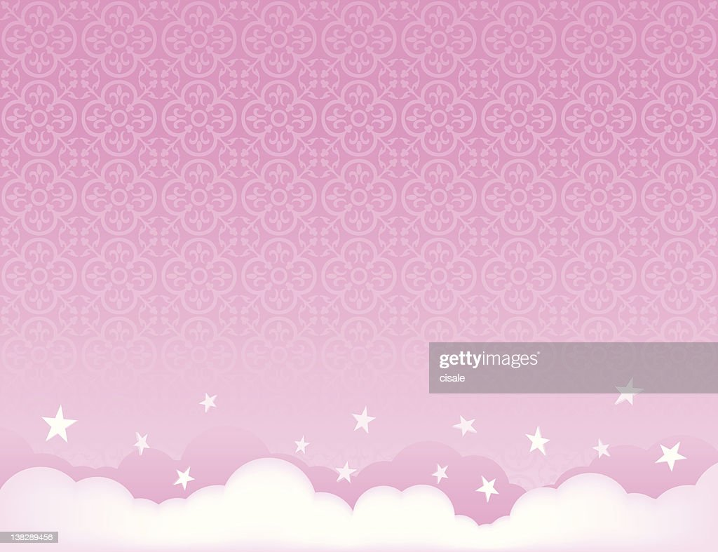 pink sky Background illustration with stars