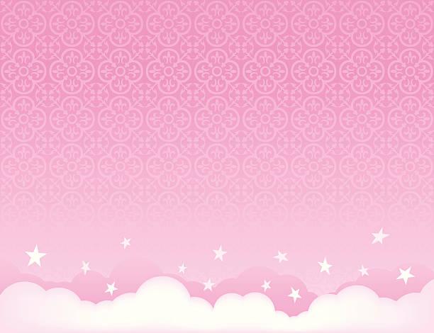 pink sky background illustration with stars - femininity stock illustrations