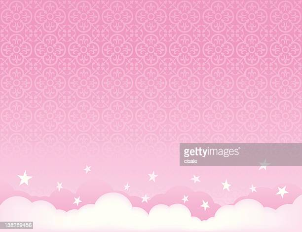 pink sky background illustration with stars - girly wallpapers stock illustrations