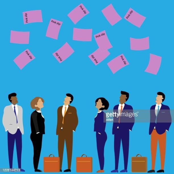 pink slips - unemployment stock illustrations