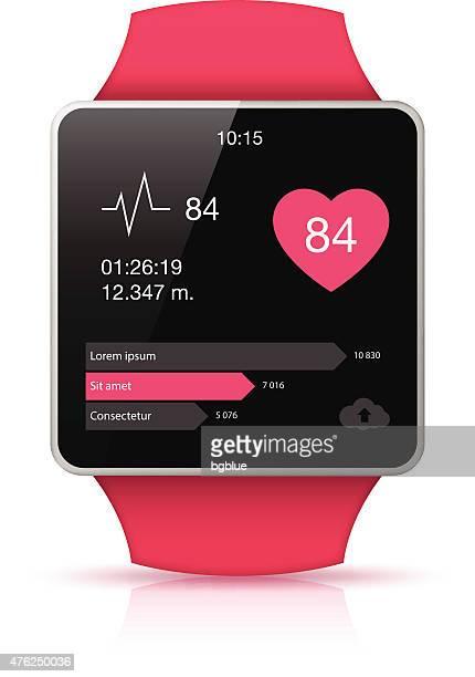 Pink Smart watch mit Fitness app-Symbol auf dem Display