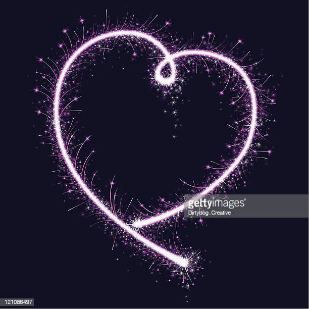 pink sparkler heart - sparks stock illustrations, clip art, cartoons, & icons