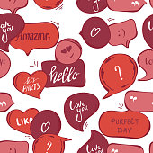 pink speech bubbles seamless pattern. Vector background of red bubbles with word: hello , amazing, love you, perfect day, quotes, question, exclamation mark . Vector illustration. template for cover fabric, books. fabric. abstract background wallpaper.