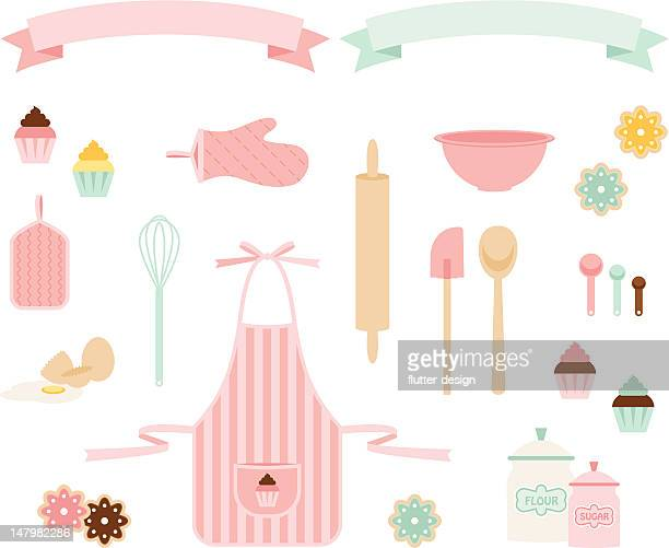 pink sugar baking icons - baked stock illustrations, clip art, cartoons, & icons