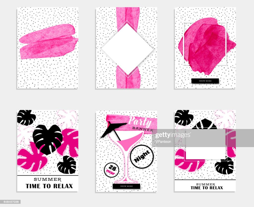 Pink summer party promo banner collection with monstera and martini