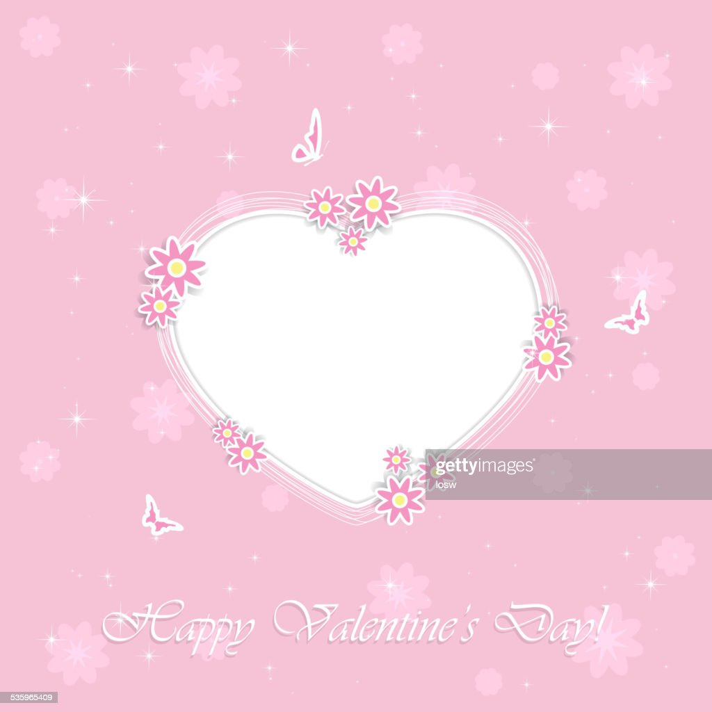 Pink Valentines background with heart : Vector Art