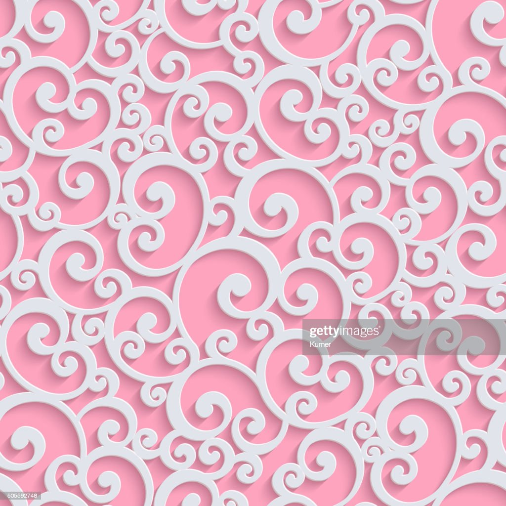 Pink Vector 3d Floral Damask Seamless Pattern