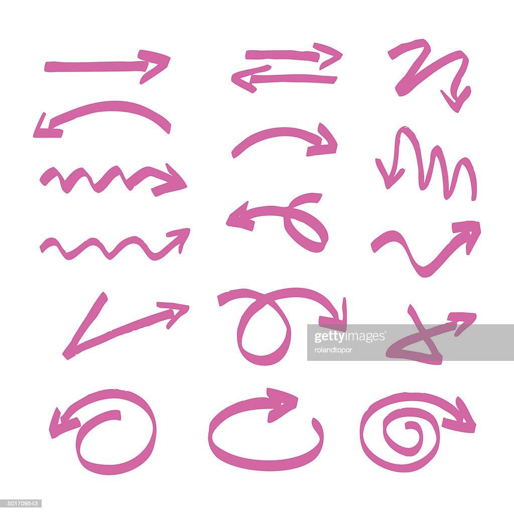 pink vector hand drawn arrows