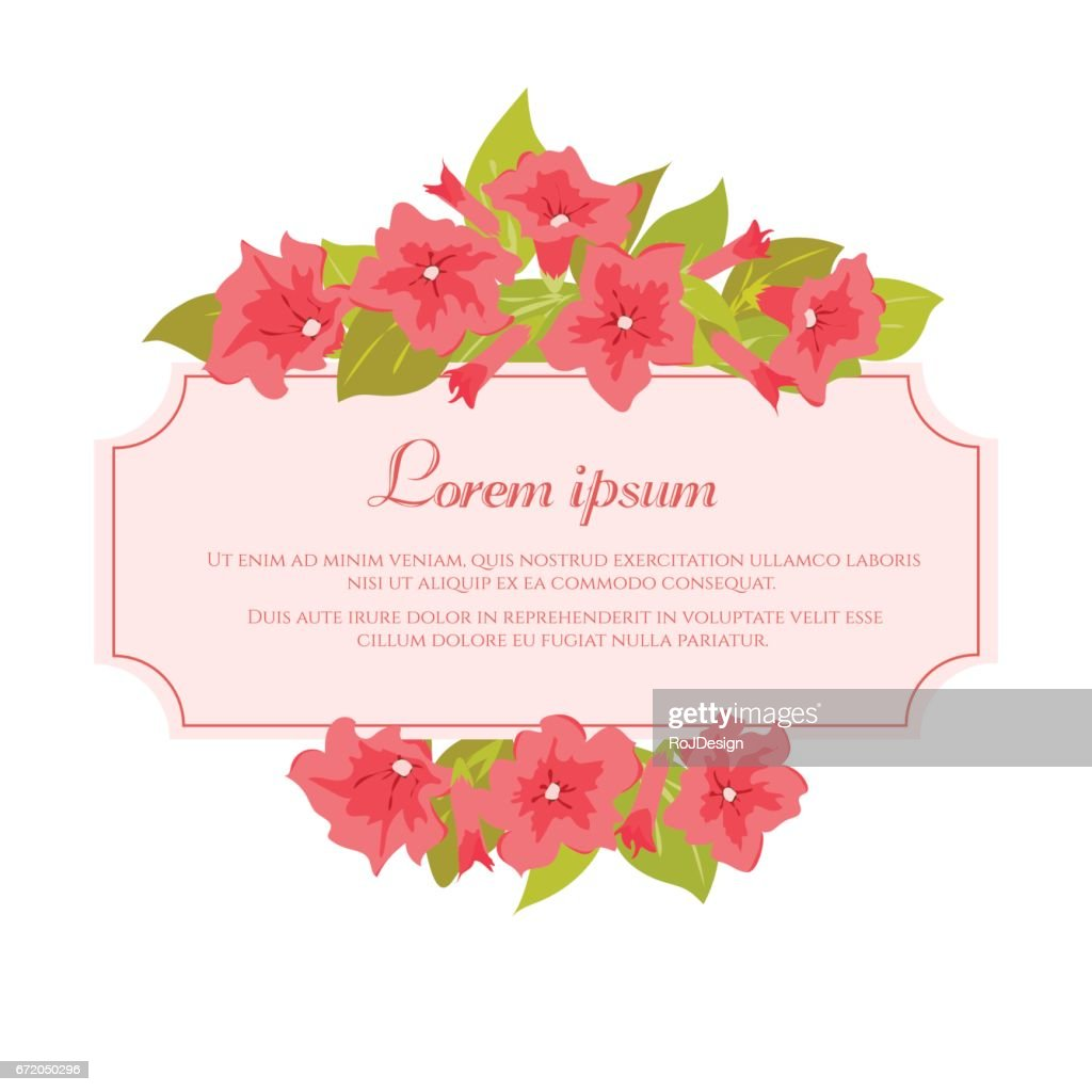 Pink Vintage Flowers Around The Frame With Sign For Wedding