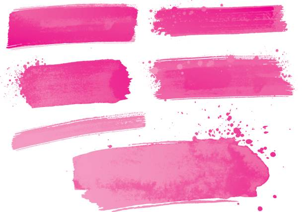 pink watercolor paint strokes - pink stock illustrations