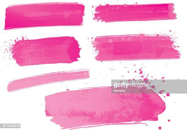 Pink watercolor paint strokes