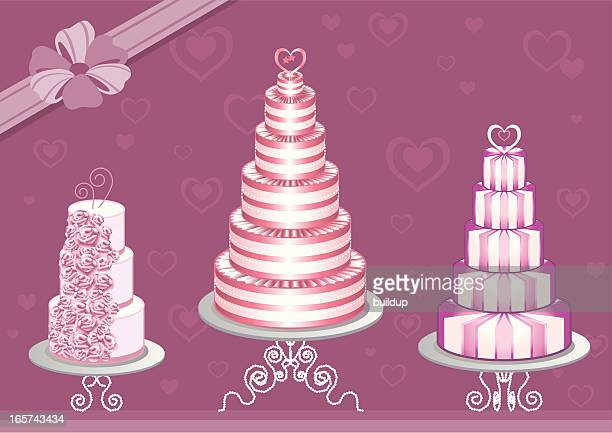 pink wedding cake collection - glazed food stock illustrations, clip art, cartoons, & icons