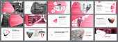 Pink, white and black infographic elements