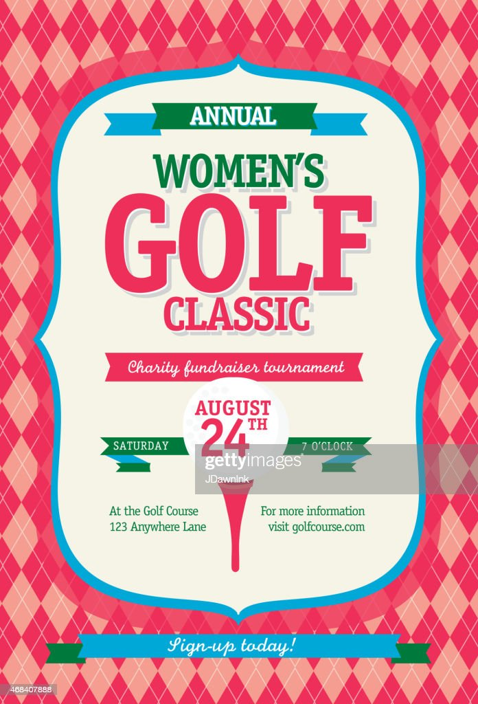 Pink Women's Golf tournament invitation design template on argyle background