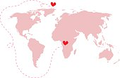 Pink world map Atlas with love around the world