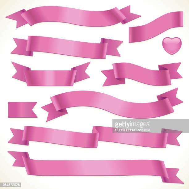 pinky ribbons - ribbon sewing item stock illustrations, clip art, cartoons, & icons