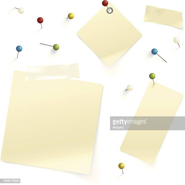 pins and paper - thumbtack stock illustrations, clip art, cartoons, & icons