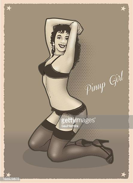 pinup girl in sepia