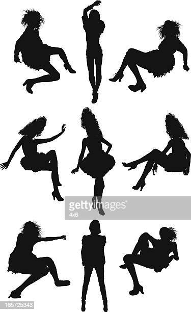 stockillustraties, clipart, cartoons en iconen met pin-up girls in different poses - ledematen lichaamsdeel