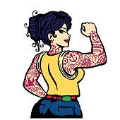 Pin-up inked bad girl full body tattooed woman vector