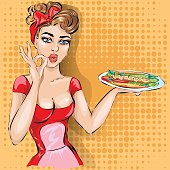 Pin-up waitress with tray in bistro cafe