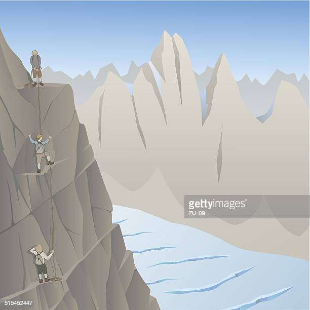 pioneers of mountaineering before over a hundred years ago - crag stock illustrations, clip art, cartoons, & icons
