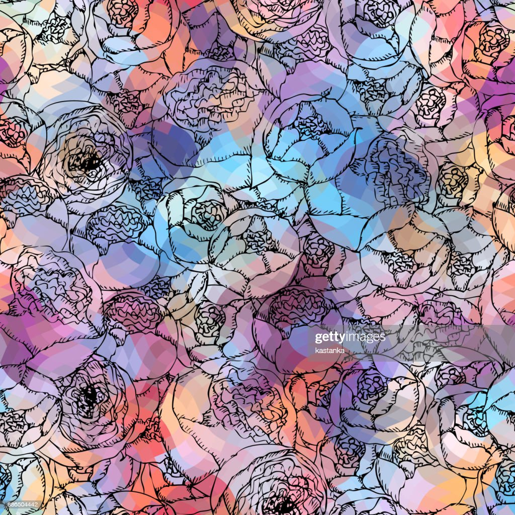 Pion-shaped roses pattern