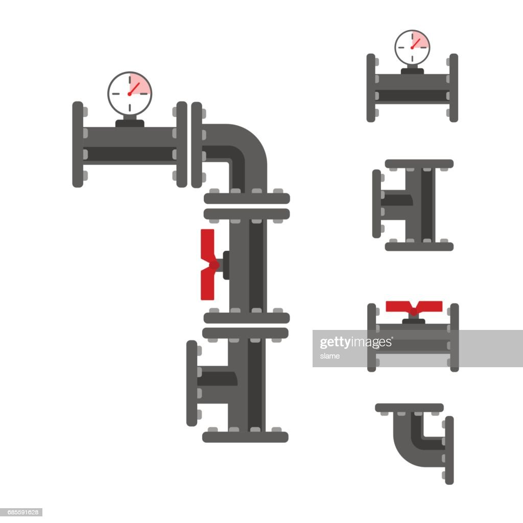 Pipe connector vector set.