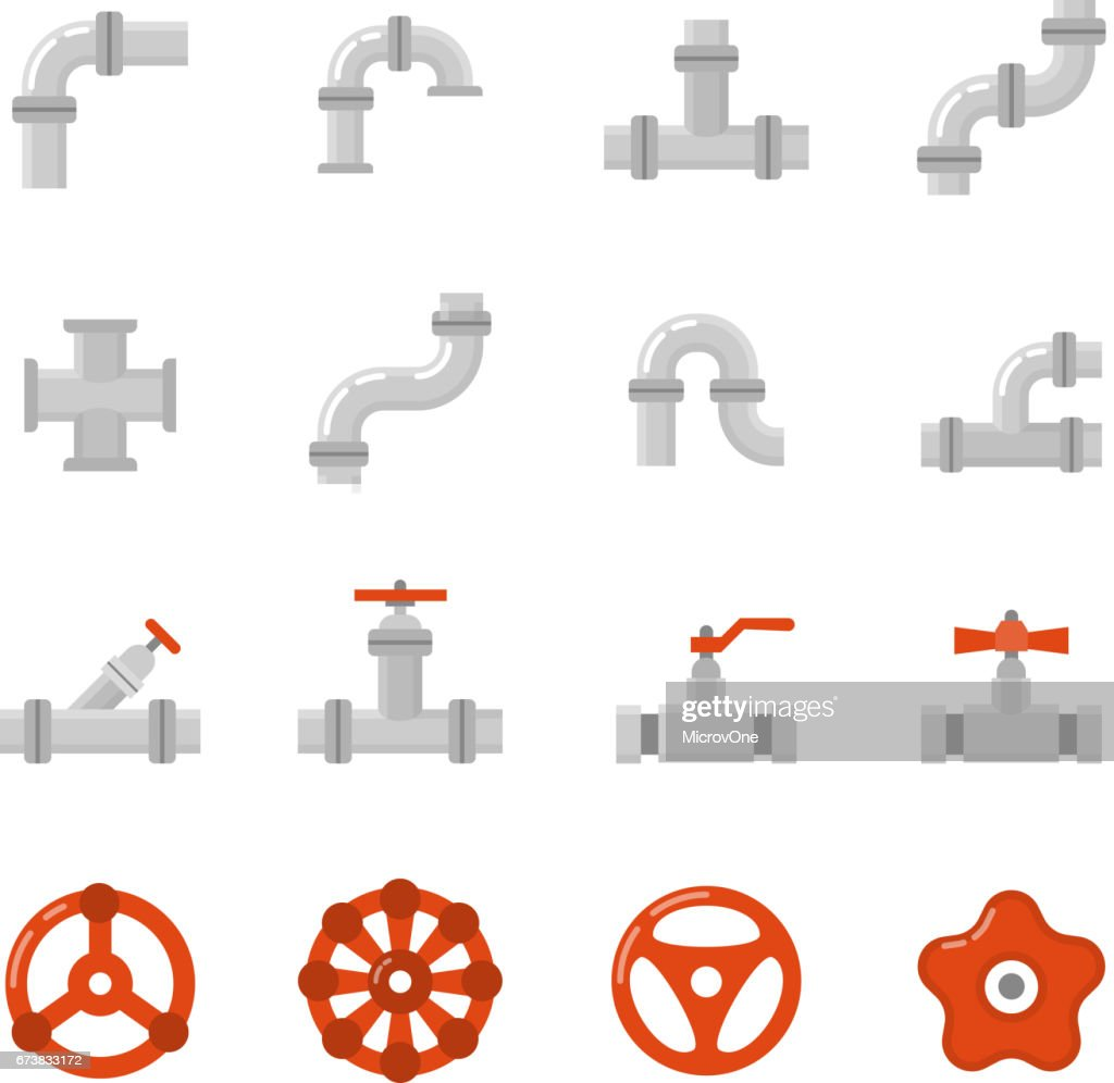 Pipe connector, water pipe fitting flat vector icons for plumbing and piping work