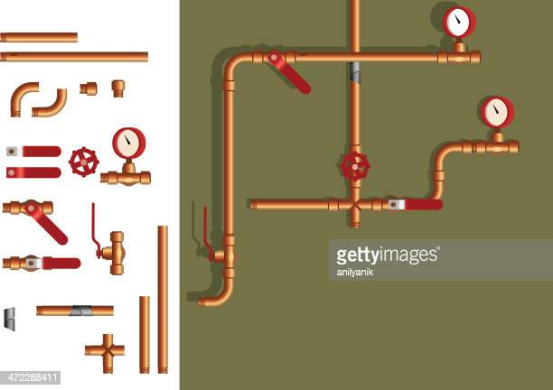 pipe elements - air valve stock illustrations, clip art, cartoons, & icons