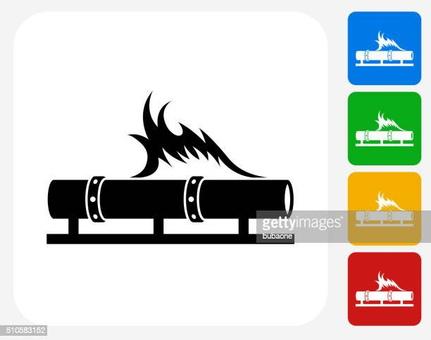 Pipe Fire Icon Flat Graphic Design