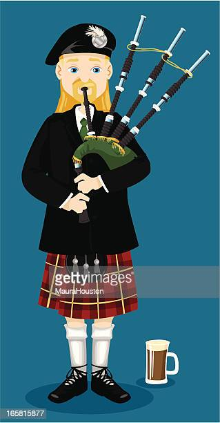 piper piping - celtic music stock illustrations, clip art, cartoons, & icons