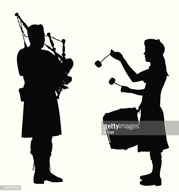 Pipes And Drum Vector Silhouette