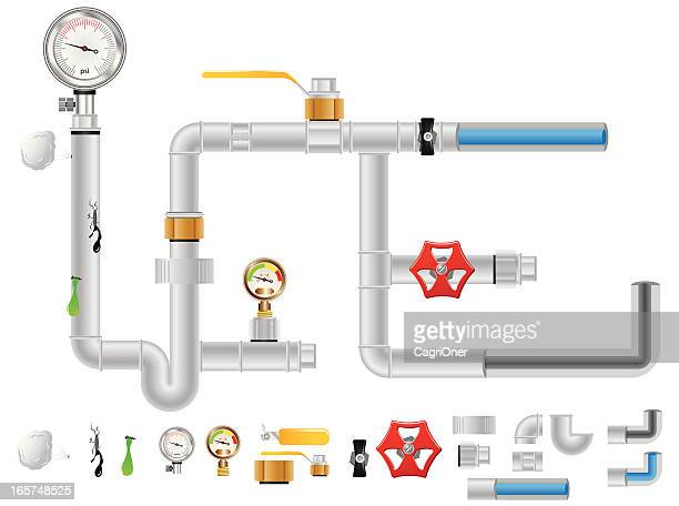 pipes, gauges and valves - meter instrument of measurement stock illustrations