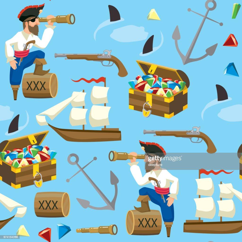 Pirat and Treasure Seamless Pattern