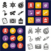 Pirate All in One Icons Black & White Color Flat Design Freehand Set