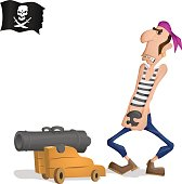 A pirate and a cannon