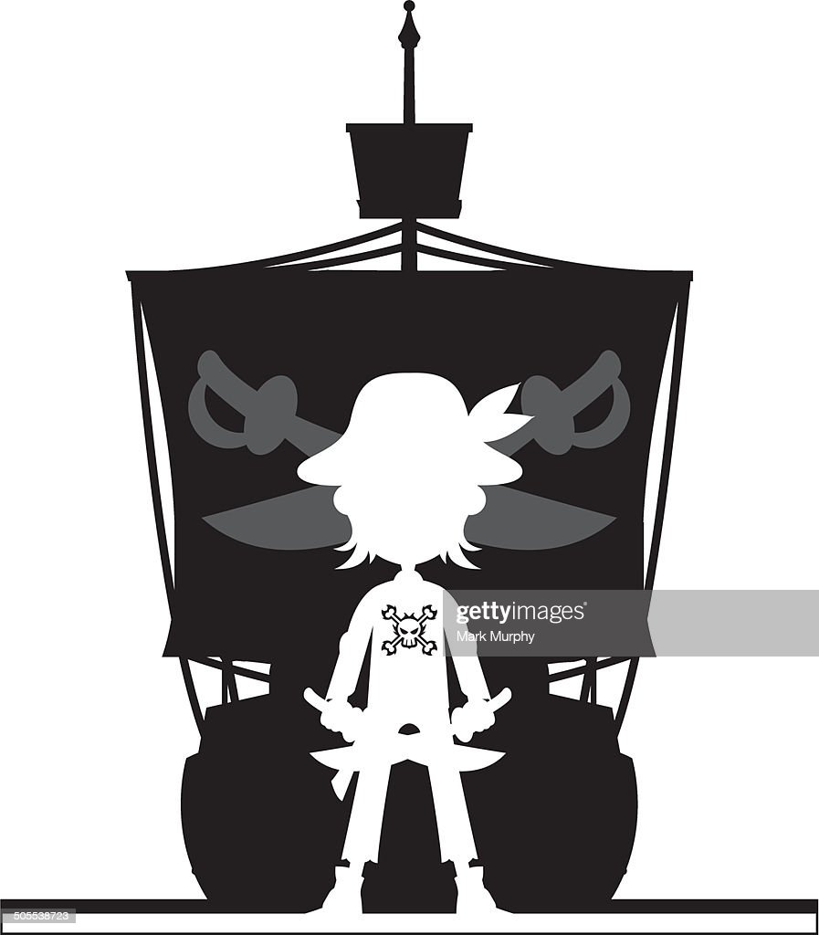 Pirate and Galleon Ship Silhouette : stock illustration